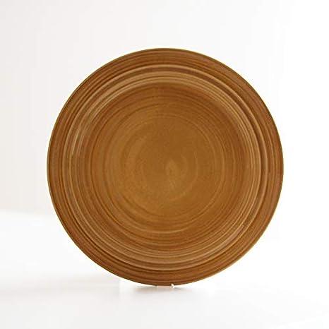 Desconocido Plato Llano - Mostaza - Pottery - cerámica Hecho en Portugal - 27 cm diámetro: Amazon.es: Hogar