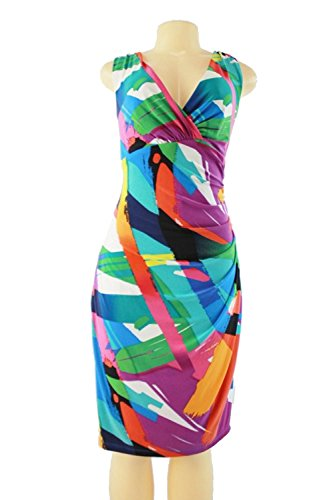 - Ralph Lauren Women's Summer Abstract Print V-Neck Folded Sleeveless Matte Jersey Dress 8 Multi