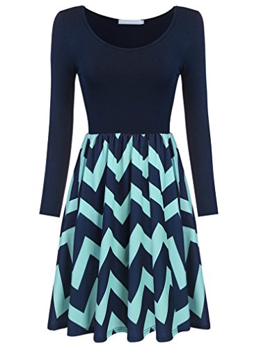womens-chevron-color-contrast-wavy-long-sleeve-empire-waisted-mini-dress-xl3