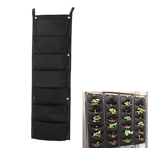 (Garden Hanging Planting Bags,Outdoor Indoor Planter Vertical Wall Grow Bag with 7 Pockets)