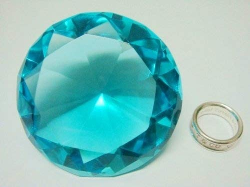 (Mother's Day Special: Small Sea Mist Color Glass Crystal Diamond Shaped Paperweight 2.25