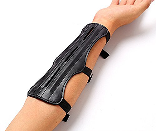 Shooting Archery Arm Guard Protection Safe Guard With 2 Rods,PU Leather,Black 9inch Length With 3 Adjustable Straps