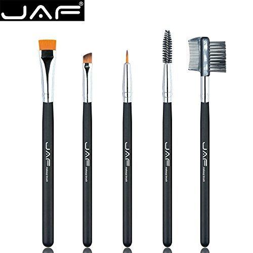 Eyebrow Brush Set-JAF 5 PCS Eyebrow Makeup Tools Includes Synthetic Eyelash Comb Angled Eyeliner Eyelashes Spoolie Flat Definer Brush Fine Tipped Liner For Liquid Powder Cream Cruelty Free Brush ()