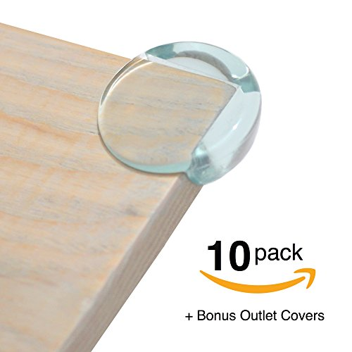 Corner Cover (FitFabHome 10 Pack Premium Clear Corner Guards | BONUS ELECTRICAL OUTLET COVERS 6 PACK | Strong 3M Brand Adhesive | Baby-Proof And Protect Your Children From Sharp Corners On Tables, Desks, Furniture)