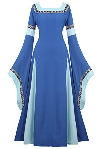 Womens Irish Medieval Dress Renaissance Costume Retro Gown Cosplay Costumes Fancy Long Dress Blue-M]()