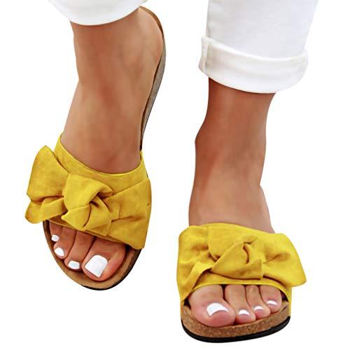 - Womens Slides Beach Thong Slipper,Summer Bow Tie Flip Flops Flat Sandals for Women Yellow