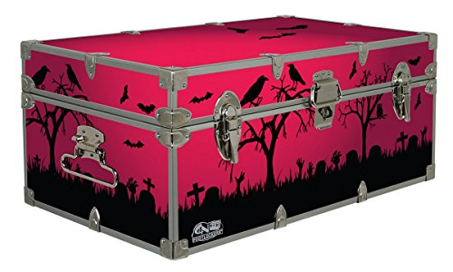 Halloween Decoration Storage Footlocker Trunk -Crows- 32 x 18 x 13.5 Inches -