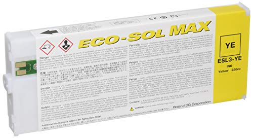 Roland Eco-Sol Max ESL3-YE Solvent Ink Cartridge 220ml Yellow ()