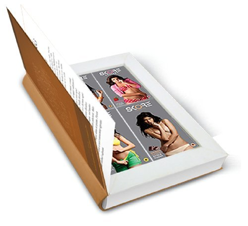 Skore Male Condom - Skore Book of Secrets (Quantity: 10Pack x 4 of Strawberry Flavored Condom, Banana Flavored Condom, Orange Flavored Condom, Chocolate Flavored Condom) Comes in a Secret Book ()