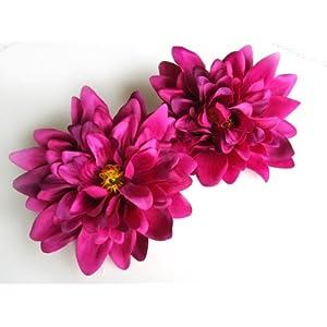 "(4) Violet Silk Dahlia Flower Heads - 4"" - Artificial Flowers Dahlias Head Fabric Floral Supplies Wholesale Lot for Wedding Flowers Accessories Make Bridal Hair Clips Headbands Dress 11"