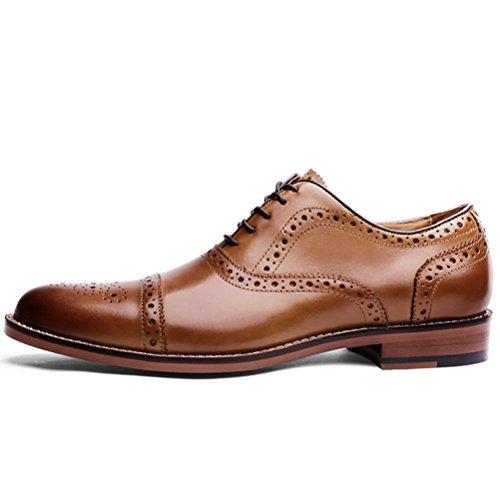 Piel Con Desai Oxford Cordones Brogue Zapato Hombre Marrón Para t44Tz