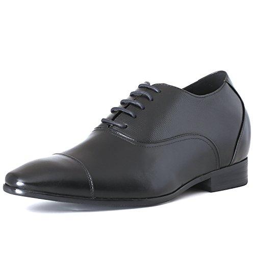 CHAMARIPA Height Increasing Elevator Shoes - Mens Leather Black Oxford Dress Shoes - 2.96 Inches K4022