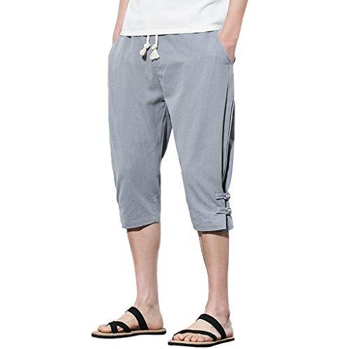 (Men's 3/4 Workout Joggers Capri Pants Running Training Side Pockets Button Linen Loose Calf-Length Pants Gray)
