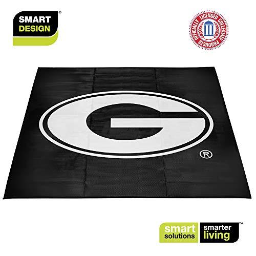 Smart Design Collegiate Tailgate Picnic Mat - 9 x 9 Feet - University of Georgia Team Design - Officially Licensed Logo - Black & White Colors - [Georgia Bulldogs]]()