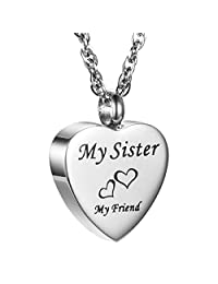 AMIST My Friend Love Heart Cremation Jewelry Keepsake Memorial Urn Necklace