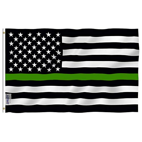 Anley Fly Breeze 3x5 Foot Thin Green Line USA Flag - Vivid Color and UV Fade Resistant - Canvas Header and Double Stitched - Support for Border Patrol Agents Flag with Brass Grommets 3 X 5 Ft