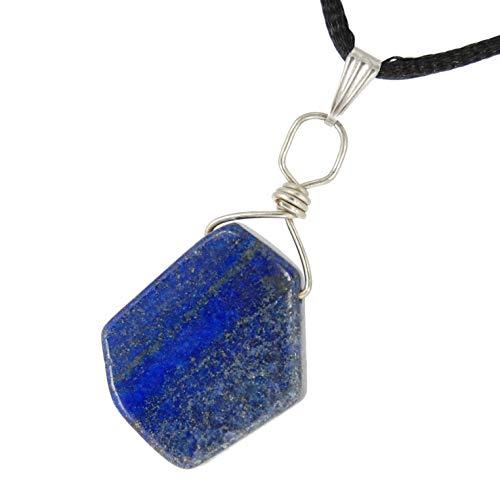 Steampunkers USA Miner's Horde - 20mm Polished Nugget Slice Lapis Lazuli Blue, Golden Pyrite - 20-22 inch Black Cord - Crystal Gemstone Carved Necklace Charm Handmade