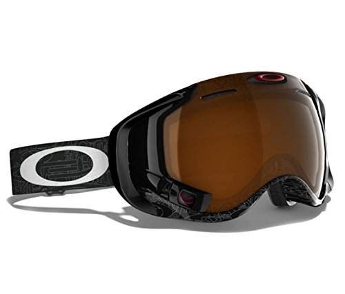 Oakley Men's Airwave Snow Goggles, Large, Silver Factory Text, Black - Oakley Head For Large