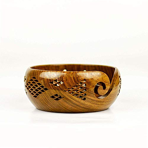 Nirvana Class Handmade 6 Inch Rosewood Crafted Wooden Yarn Storage Bowl with Carved Holes & Drills Knitting Crochet Accessories Home Decor Art