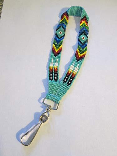 wristlet key chain keys key holder turquoise southwest Indian design Hand beaded Guatemalan central american Native I.D. ID badge holder tag lanyard fair trade glass seed bead Aztec Ethinc