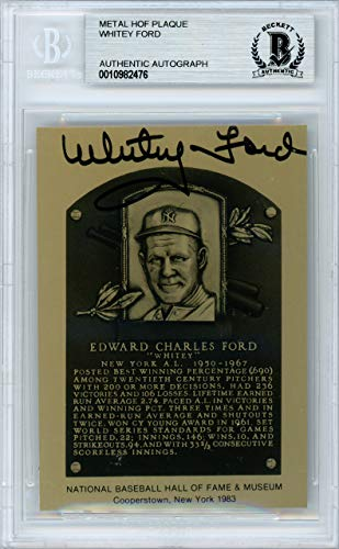 Whitey Ford Signed Auto 1983 HOF Metallic Plaque Card New York Yankees - Beckett Authentic ()