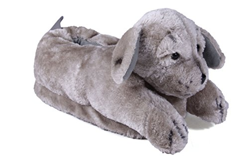 [Happy Feet - Gray Puppy - Animal Slippers - Small] (Furry Puppy)