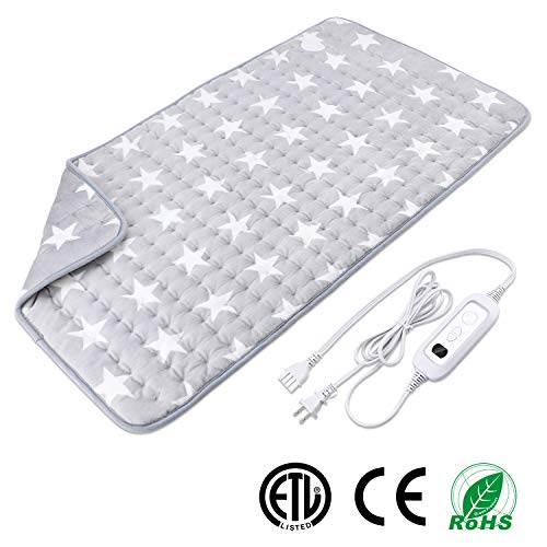 XXX-Large Heating Pad for Muscle Pain Relief with Strap, Electric Heat Therapy Heating Pad with Auto Shut-off, Fast Heat-up with 6 heating levels,Super Soft Material (33.5''x17.7'', Gray-Star Pattern)