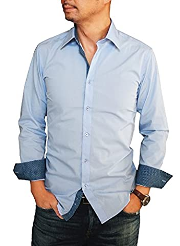 FASCINO UOMO Men's Trimmed Slim Fit Dress Shirt Convertible Cuff Solid (Neck Size:15 1/2; Sleeve Length :32/33;, Baby - Uomo Mens Fashion