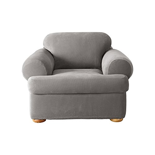 Sure Fit Stretch Pique Separate Seat T-Cushion Chair Slipcov