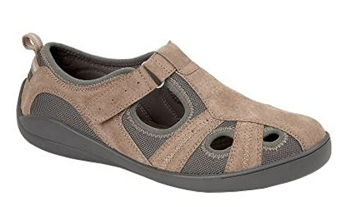 Boulevard Ladies Leather/Textile Touch Fastening Casual Shoe/Sandal Dark Beige ecvJ2A