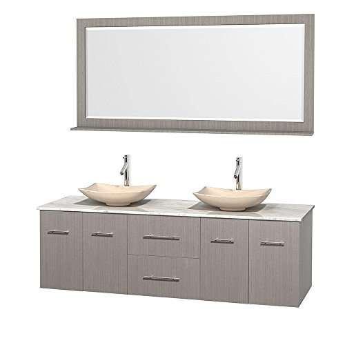 Wyndham Collection Centra 72 inch Double Bathroom Vanity in Grey Oak, White Carrera Marble Countertop, Arista Ivory Marble Sinks, and 70 inch Mirror price