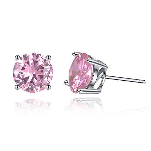 [Swarovski Crystal Earrings, Sterling Silver Cubic Zirconia Stud Earrings October Simulated Birthstone Tourmaline Solitaire CZ Studs] (Garnet Swarovski Austrian Crystal)