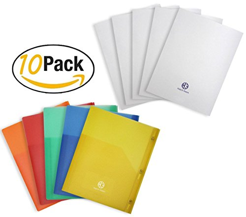 Translucent Pvc Card (Bundle - 2 Deep Pocket Transparent Plastic Folder With Hole Clasps and Brads Comes in Red Orange Green Blue Yellow and White Folder with Transparent Pocket and Elastic Pen Holder)