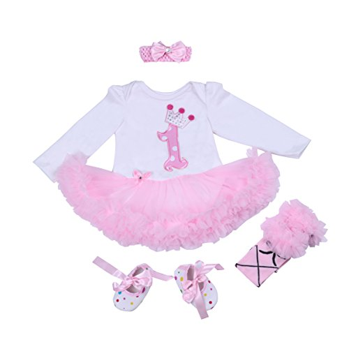 BABYPREG 4-delige kroonpatroon voor babymeisjes 1e verjaardag Tutu-jurk met hoofdband