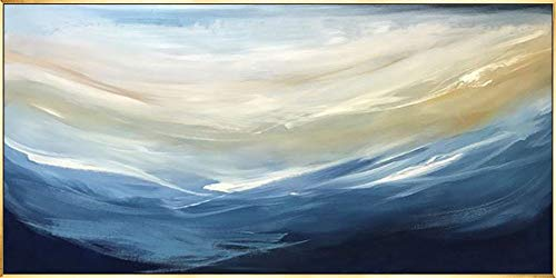ainted Oil Paintings Large Abstract Oil Painting Blue Cloud Sea Banner Living Room Sofa Background Wall Decoration Painting Bedroom Hanging Picture Bedside Painting,60×120Cm ()