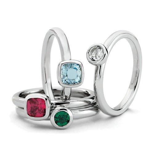 Sterling Silver Stackable Vibrant Gemstone Quartet Ring Set Size 7