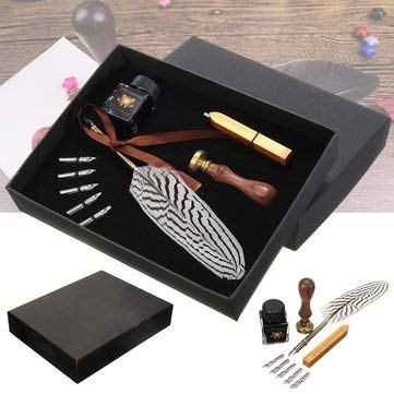 Antique Feather Writing Quill Pen Ink Seal Wax Set Collection Stationery Gift - Stationery Supplies Pens & Writing Supplies by Unknown (Image #7)