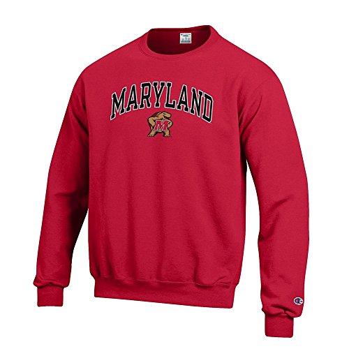 Elite Fan Shop NCAA Maryland Terrapins Men's Crew Sweatshirt Team Icon Touchdown, Red, X-Large