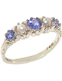 14k white gold natural tanzanite and cultured pearl womens band ring sizes 4 to 12 available - Pearl Wedding Rings