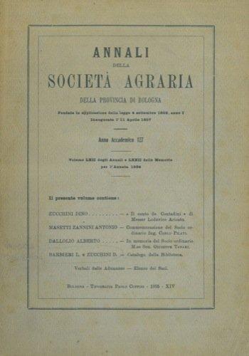 Catalogo della biblioteca sociale della Società Agraria della Provincia di Bologna.