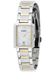 Pulsar Womens PXT701 Diamond Mother Of Pearl Dial Two-Tone Watch