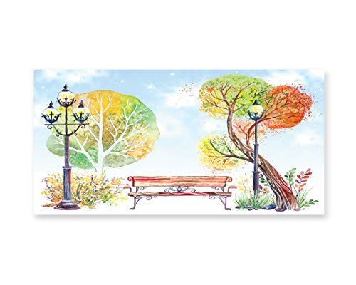 Lunarable Lantern Wall Art, Colorful Fall Trees Wooden Bench in City Park with Blue Sky Autumn Season, Gloss Aluminium Modern Metal Artwork for Wall Decor, 23.5 W X 11.6 L (Party City Floating Lanterns)