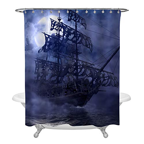 - Sailing Pirate Ghost Ship Shower Curtain, Flying Dutchman on High Seas in a Grey Foggy Moonlit Night, Mysterious 3D Painting Art Decor for Nautical Pirate Ship Bathroom, 72