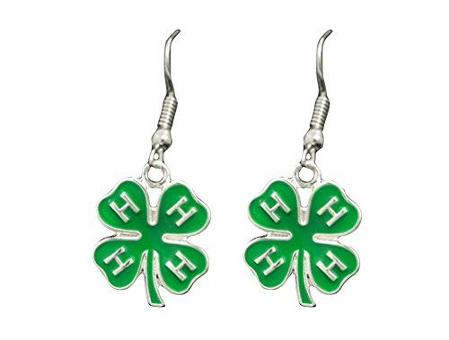 4-H Club Green Clover Charm Hook Earrings Jewelry Gift Award Prize Kids - 4 H Clover