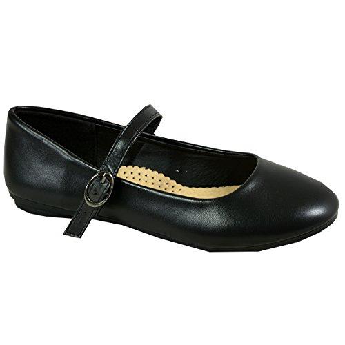Schuhe Dolly Ballerina UK Jane Lässige Schwarz Pu Mary Größe Damen Flache Sommer Ballett Mode Damen Cucu x1wqICP8O