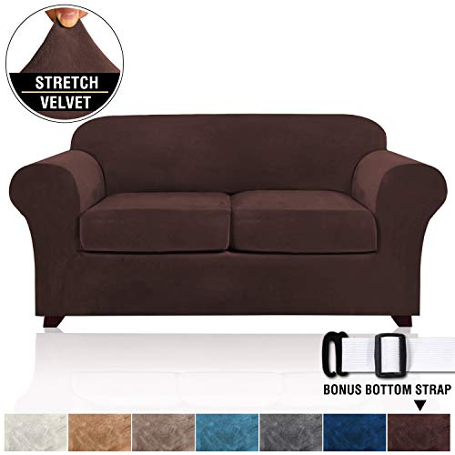 Real Velvet 3 Piece Sofa Cover for Loveseat Slipcover Stylish Modern Velvet Plush Furniture Cover/Protector, Thick and Soft Loveseat Covers for Living Room 2 Cushion Couch (Loveseat, Brown)