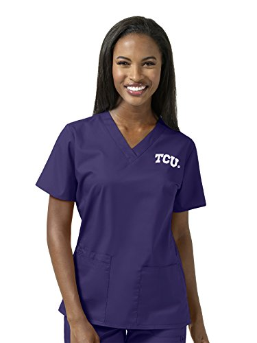 Texas Collegiate Scrub (WonderWork Collegiate Women's V-Neck Grape Solid Scrub Top Small Texas Christian University)