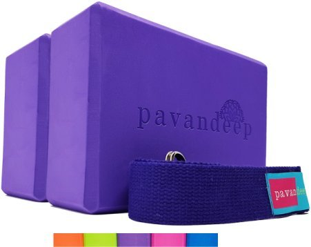 Yoga Block and Strap Set by Pavandeep (3PC Kit) EVA Foam Firm Grip for Balance Stability Strength to Support and Deepen Postures in Yoga Pilates Fitness or Gym Exercise (Purple, 2Blocks + 1Strap)