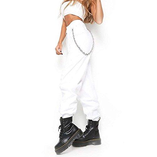 Semplice Pantaloni Streetwear Estivi Tendenza Tempo Libero Baggy Lunghe High Waist Donna Swag Bianca Glamorous HaiDean Kette Elegante Fashion Monocromo Pantaloni Pantaloni Pantaloni Harem Mit nXYaZqwOx