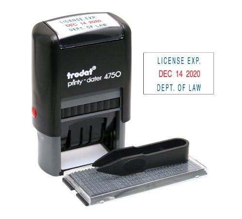 - Trodat Economy Self-Inking Do It Yourself Message Date Stamp, Stamp Impression Size: 1 x 1-5/8 Inches, Blue/Red (5916)